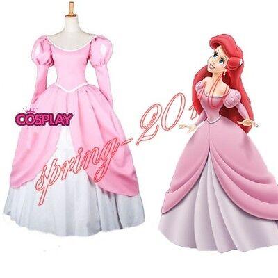 The Little Mermaid Princess Ariel Pink Dress Custom Made Cosplay Costume Ebay