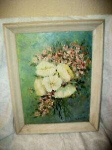 VINTAGE WHITE PINK FLOWER BOUQUET OIL PAINTING FRENCH FARMHOUSE ART MID CENTURY