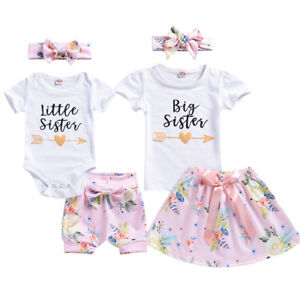 AU-Newborn-Baby-Girl-Sister-Matching-Outfit-Floral-Clothes-T-shirt-Pants-Skirts