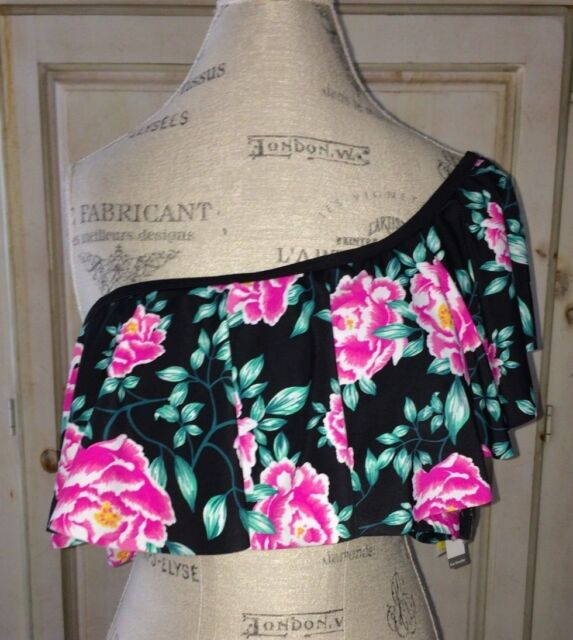 39870987e27c5 Time And Tru Women's One-Shoulder Bella Floral Ruffle Swimsuit Top Size XL  16-