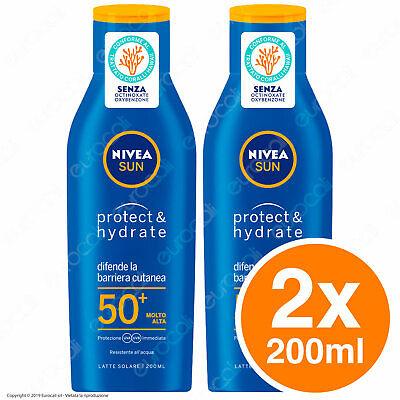 2x 200ml - NIVEA SUN Protect & Hydrate Latte Crema Solare Protezione Alta FP50