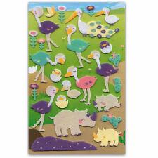 CUTE RHINO & OSTRICH FELT STICKERS Sheet Animal Raised Craft Scrapbook Sticker