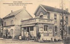 CPA 51 OIRY GARE EMBRANCHEMENT DES LIGNES PARIS AVRICOURT 2 CAFES DE LA GARE
