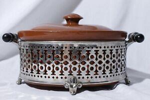 Vtg-Weller-Stoneware-Crock-Covered-Casserole-Dish-Bean-Pot-amp-Metal-Stand