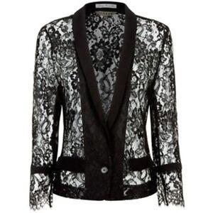 French Ladies Jacket Black £220 Lace V Uk Jigsaw 32 Size Rrp 12 Box12 pqIdfB