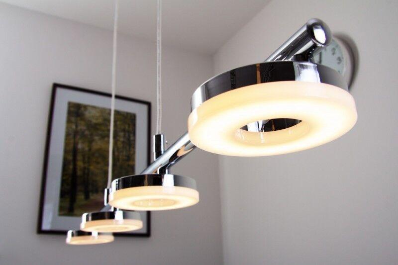 LED Lampada a sospensione metallo plastica cromo bianco design moderno 79194
