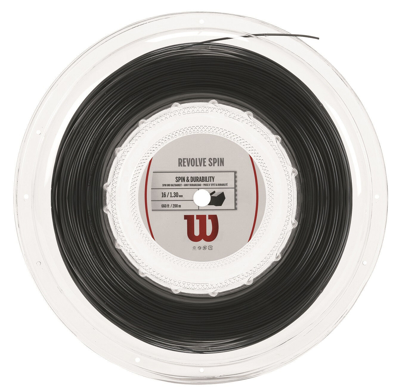 Cadena De Tenis Wilson giran Spin 16 200 M 660 ft carrete-Negro-AUTH distribuidor