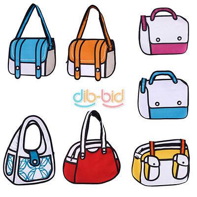 Charm 2D Drawing 3D Jump Handbag Shoulder Canvas From Cartoon Messenger Bag