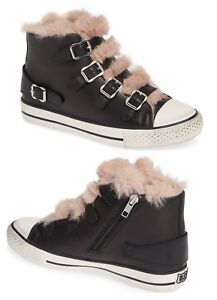 Ash-Brand-Women-039-s-Valko-High-Top-Leather-Shoes-Sneakers-Rose-Pink-Faux-Fur-New