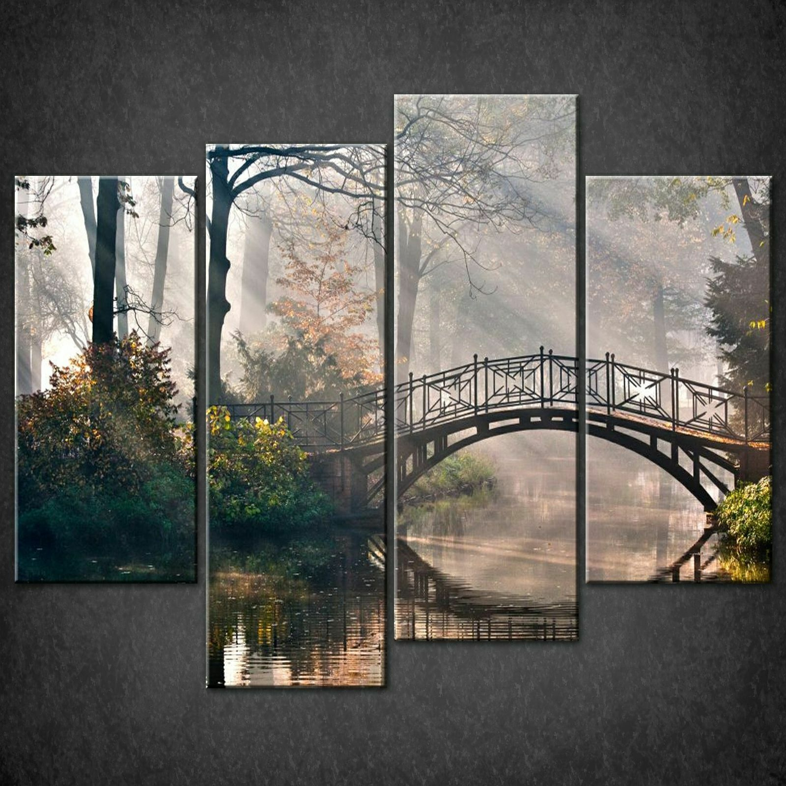 BRIDGE ON FOREST RIVER CANVAS PRINT PICTURE WALL ART FREE FAST DELIVERY
