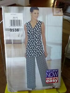 Oop-Butterick-See-amp-Sew-3538-misses-sleeveless-tunic-pants-loose-sz-6-10-NEW