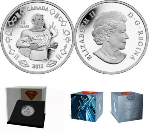 2013 $10 /'Vintage Superman/' Proof Silver Coin .9999 Fine No Tax