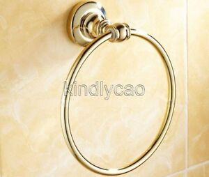 Luxury-Gold-Color-Brass-Round-Bathroom-Towel-Ring-Towel-Rack-Holder-Kba104