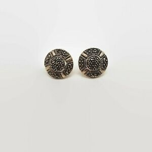 Sterling-Silver-amp-Marcasite-Round-Earrings