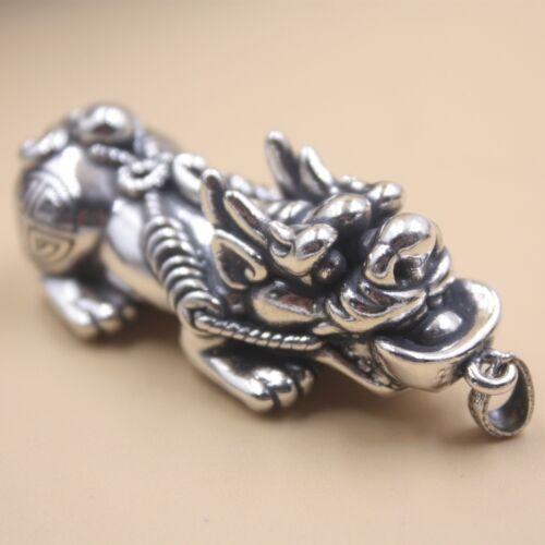 New Pure 925 Sterling Silver Pendant Wealth Animal Dragon/'s Son Pixiu Pendant