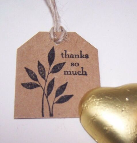 """/""""Thank you so much/"""" Pk50 Small 3.5x4cm vintage gift tags Handmade stamped"""