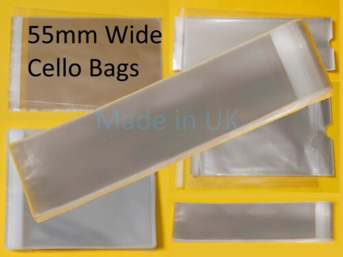 55mm Wide Cellophane Bag for Slim Gifts Clear Tall//Slim Cello Display Bags