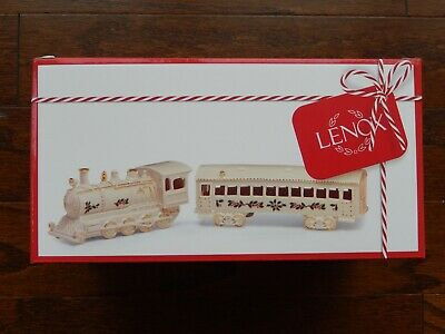 LENOX CHRISTMAS VILLAGE TRAIN and PASSENGER CAR Holiday series NEW in BOX