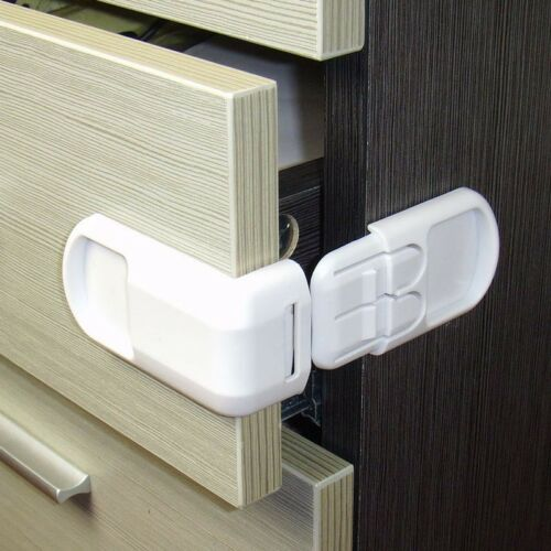 3pcs Babys Safety Double Button Multi-function 90-Degree Closet Door Safety Lock