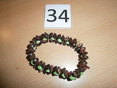 1 Dehnbares Armband - Holzarmband - Braun/grün 34 - Neu/ungetragen-modeschmuck Durchblutung GläTten Und Schmerzen Stoppen