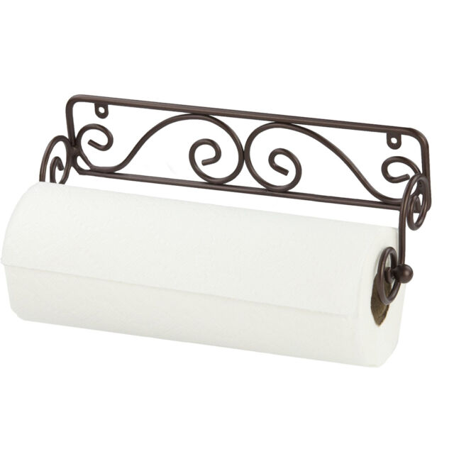 Home Basics Bronze Scroll Wire Wall Mounted Kitchen Paper Towel Holder