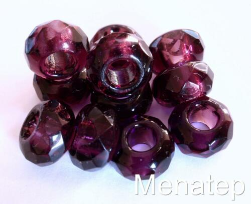 Transparent Amethyst 6 Six 8x14mm Large Hole Rondelle Beads