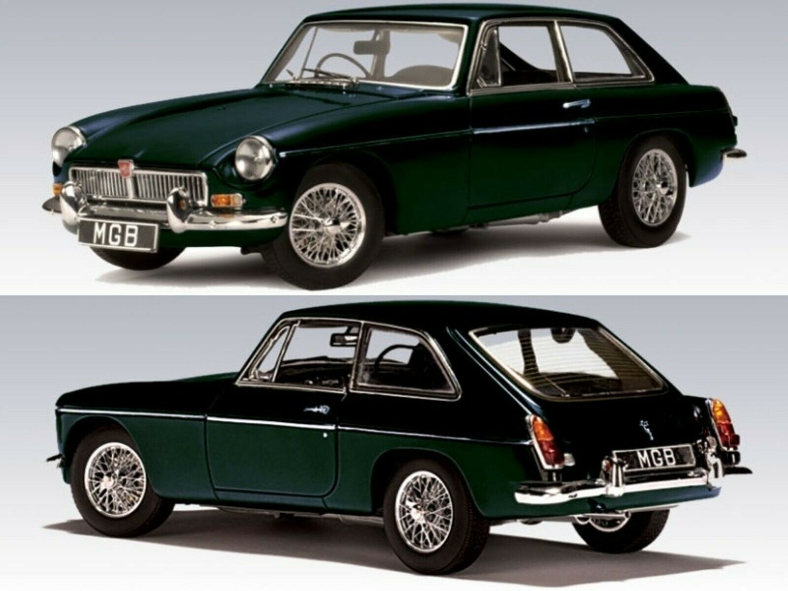 WOW EXTREMELY RARE MGB MkII GT Coupe RHD 2.6L 1969 BR Green 1 43 Auto Art-Spark