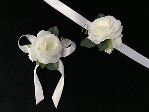 Brautjungfern Blumen Armband Satin Bandchen Weiss Nedime Bilekligi