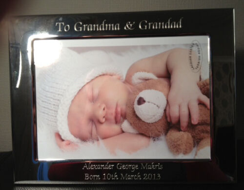 "New born Nanny Grandad Gift Personalised Engraved Landscape 7 x 5/"" Photo Frame"