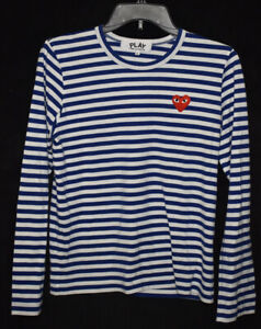 Comme Des Garcon Play Womens Striped Red Heart Long Sleeve Shirt Size Large