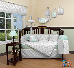 Baby Soft Mint Green Gray Chevron 13 Piece Nursery CRIB BEDDING SET EBay