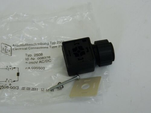 Burkert Electrical Connector Type 2508 Solenoid Valve Connections 0-250vac//dc
