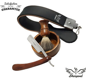 STRAIGHT-CUT-THROAT-WET-SHAVING-RAZOR-BRUSH-amp-STROP-KIT-RASIERMESSER-RASOIR