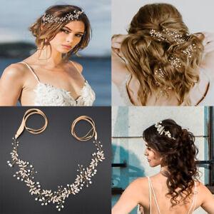 Wedding Hair Vine Crystal Pearl Headband Bridal Accessories Chain Headpiece US