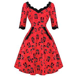 8c49c1baefe5 Voodoo Vixen Katnis Gatto Rosso Rockabilly 1950s Retro Vintage