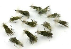 Olive-G-amp-H-Sedges-Goddard-Sedges-Barbless-Hooks-Trout-Dry-Flies-Fly-Fishing