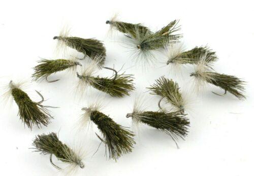 pêche à la mouche, truite dry mouches Hameçons Sans Ardillon Goddard Carex Olive g/&h Carex