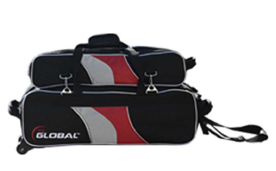 900 Global 3 Ball Bowling Tote Bag with Tow Wheels and shoes Bag NEW COLOR