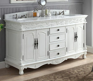 63 Decorative Double Sink Florence Bathroom Vanity Model Hf 036xlw Aw Ebay