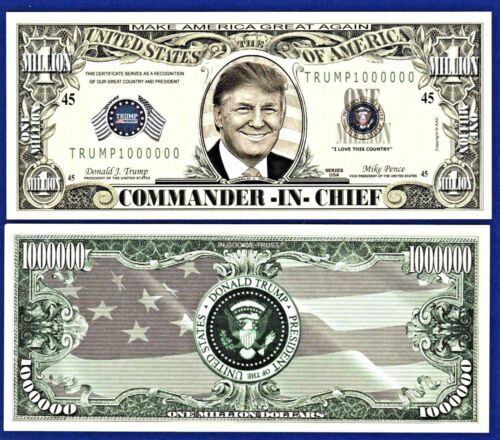 Set-of-9 different Donald-Trump  Bills-Presidential W// clear protector sleeves