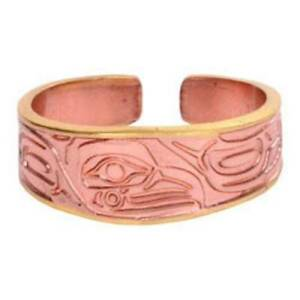 Solid-Copper-Ring-Eagle-Northwest-Native-Gold-Handmade-Jewelry-Etched-Design