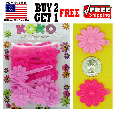 Hot pink rose snap barrettes snap clips hair clips