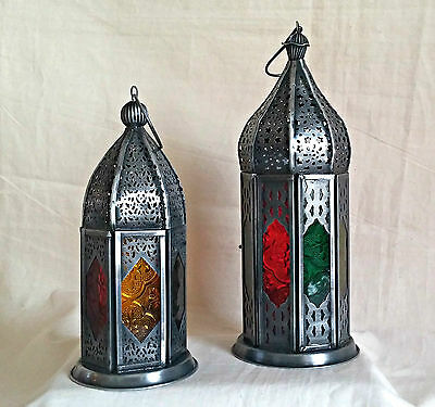Moroccan Style Lantern - Grey Metal Dome Rustic with Coloured Panels -2 T-Lights