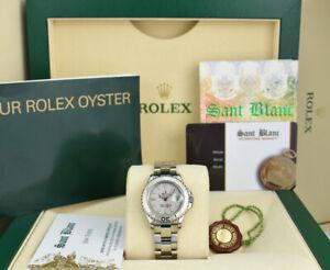 ROLEX Ladies 29mm PLATINUM & Stainless Steel YACHTMASTER Model 169622 SANT BLANC