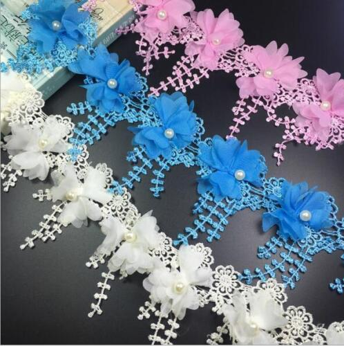 2 Yards chiffon Polyester Lace flowers pearl Wedding Embroidered Sewing Crafts