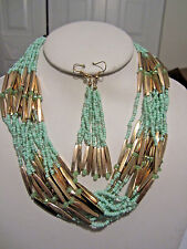Multi Strand Mint Glass Seed Bead Gold Tone Bead Necklace Earring Set