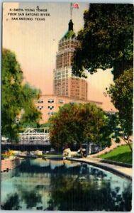 San-Antonio-Texas-Postcard-034-SMITH-YOUNG-TOWER-from-San-Antonio-River-034-Linen