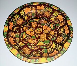 Vintage-1971-England-Tin-Bowl-Excellent-Condition-Burnt-Orange-Florals-10-1-4-034