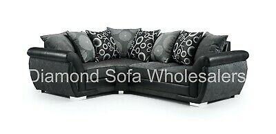 Right Hand Facing Black//Grey Fabric Left Hand Facing Sofa Shannon