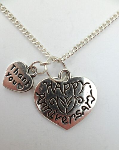 SILVER NECKLACE ANNIVERSARY Love Heart Pendant Gift Huge Choice *